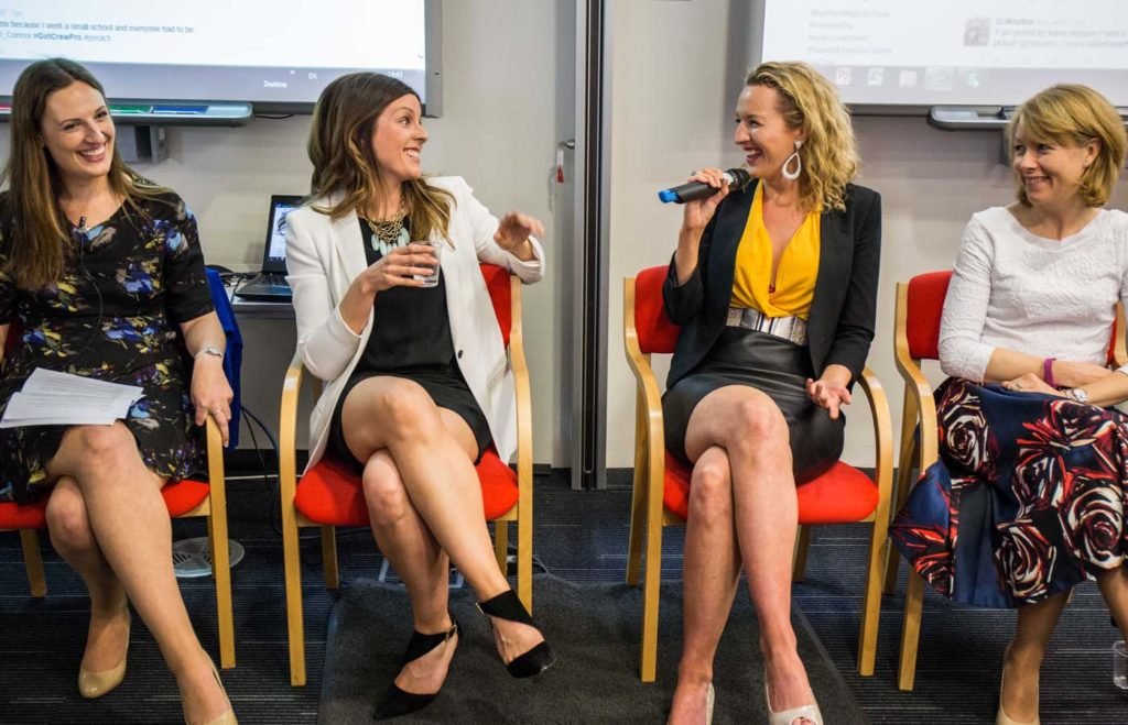 The Speak Up Club founder Deanna O'Connor on the panel at the inaugural GirlCrew Pro event. Pictured, L-R: Pamela Newenham, GirlCrew co-founder, Deanna O'Connor (then editor of Xposé magazine), Avril Mulcahy (entrepreneur), Clodagh Logue (Microsoft).